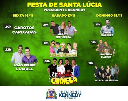 Festa de Santa Lúcia, em Kennedy, acontece neste fim de semana