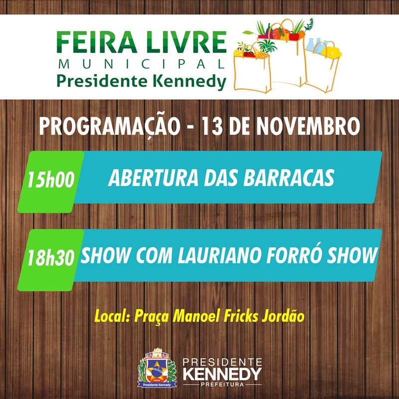 Programação da Feira Livre Municipal de Presidente Kennedy