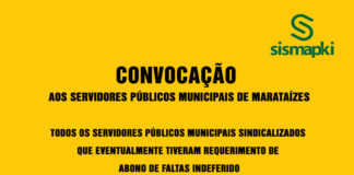 SISMAPKI convoca servidores públicos Municipais de Marataízes