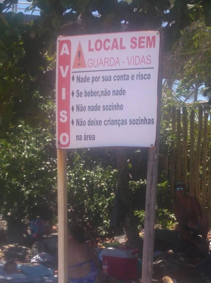 Local está sinalizado, porém moradores querem mesmo é guarda-vidas