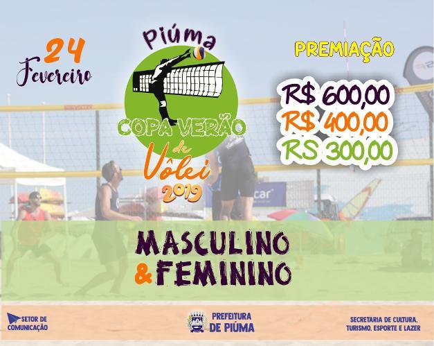 Inscrições abertas para COPA VERÃO DE VÔLEI DE PRAIA em Piúma