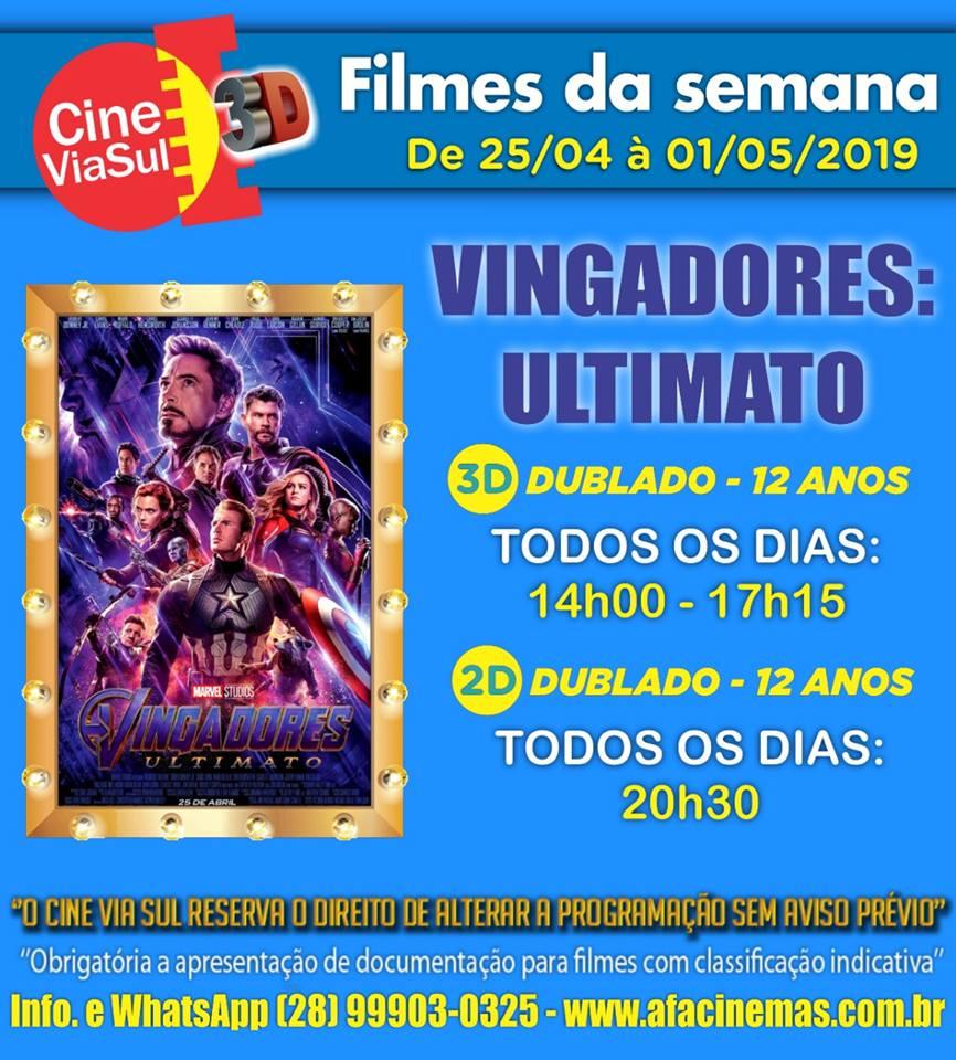 Cine Via Sul em Marataízes: Em cartaz Vingadores Ultimato