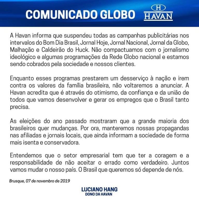 Empresa Havan de Luciano Hang cancela contratos com a Globo. Emissora faz 'desserviço' a sociedade, diz